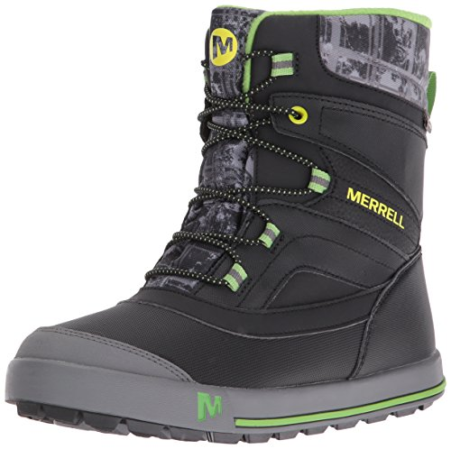 Merrell Jungen Snow Bank 2.0 Waterproof Trekking-& Wanderschuhe, Schwarz (Black/Grey/Green), 33 EU